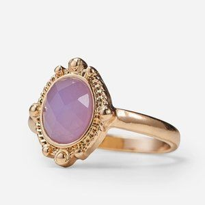 Gold & Lilac Stone Ring Size L